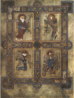 A page from the Book of Kells showing the four Evangelists represented as the living creatures.